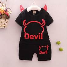 Baby Summer Clothing Sets Children devil Print Clothing Sets Boys Girls Demon wings tops and pants 2 pcs Suits Outfits(China)