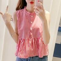 Women Sweet Ruffles Plaid Pleated Shirts Peter Pan Collar Blouse Ladies Summer Casual Tops Blusas CD11