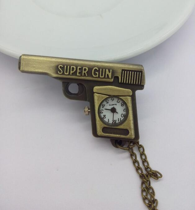 Antique Bronze Gun Machine Pocket Watch Necklace Pedant Xmas Gift 10pcs/lot P58