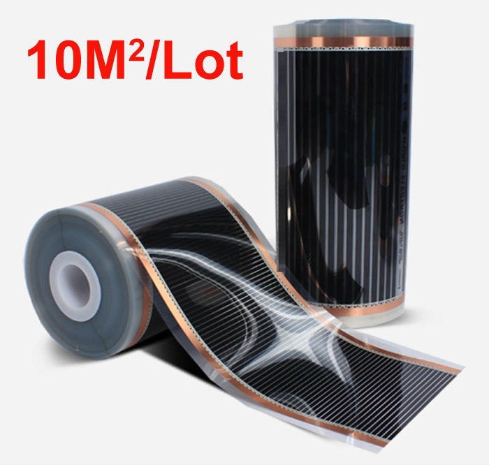 Hot 10m2 Floor Heating Films Width 0.5m Length 20m 220VAC Surface Temperature 40-50 Degree C Safety Health and Energy Saving hot free shipping 10 square meter floor heating films thermostats clamps piler black tape insulating daub 0 5m 20m 220vac