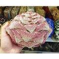 Pink bridal bag red cyrstal luxury clutch evening bag diamond women prom bag soiree pochette femme Rose flower party purse 117