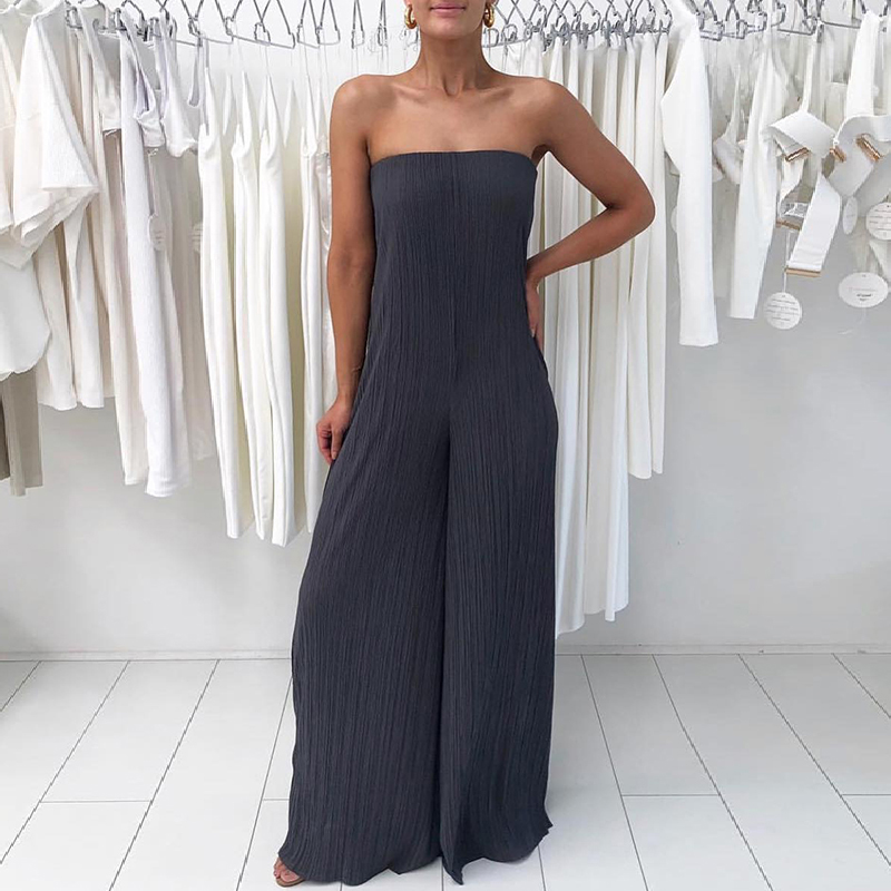 New Fashion Summer Women Boot Cut Solid Stylish Bandeau Jumpsuit Sexy Solid Pleated Strapless Wide Leg Jumpsuit