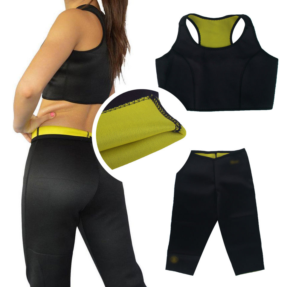 78456248ff4 Super Stretch Women Hot Neoprene Body Shaper Set Sauna Slimming Abdomen  Belly Belt Control Vest Waist Belt and Pant in 1 Set