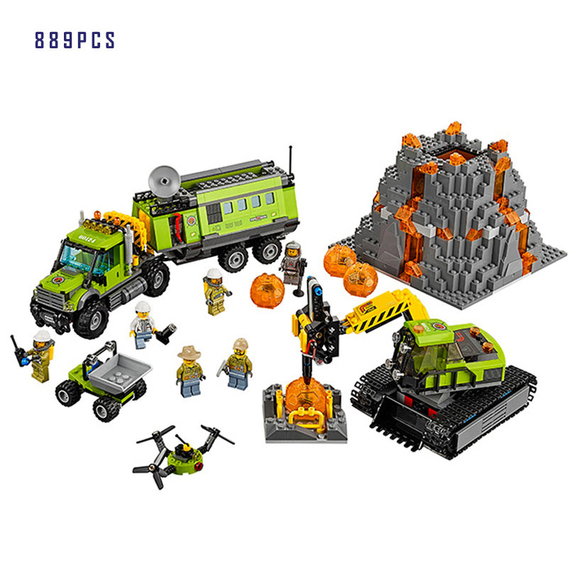 Models building toy The Volcano Exploration Base Set Building Blocks Compatible with lego City 60124 toys & hobbies for birthday 889pcs city volcano exploration base model building blocks 02005 assemble bricks children cars toys sets compatible with lego