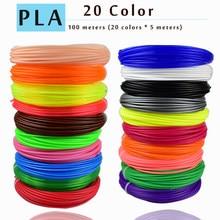Plástico plástico 20 cores abs 1.75 nenhuma poluição do pla da pena 3d do abs do filamento do pla 1.75mm 3d do filamento do abs da impressora 3d de weiyu