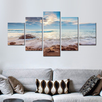 Blue Seascape with Waves Canvas Painting Modern Beautiful Large Landscape Wall Art Beach and Stone Poster for Home Decor 5 Panel