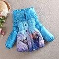 Caliente venta 2015 niños de abrigo niñas abrigo de invierno chaqueta de los niños para las muchachas Parka grueso exterior abajo de algodón acolchado ropa