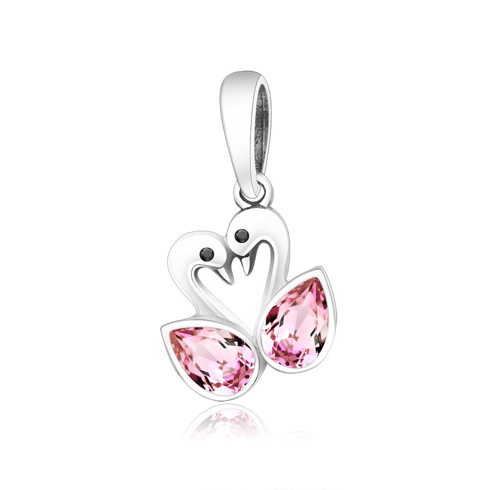 New 100% 925 Sterling Silver Beads Swan Charm With Pink Zircon Fit Original Pandora Charm Bracelets & Bangles Necklaces Jewelry