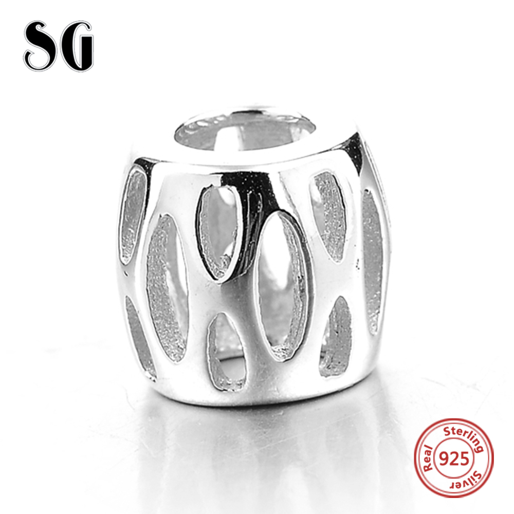Silver Galaxy Hollow Out Oval Beads Genuine Fit Pandora Charms Bracelets for Women DIY Accessories 925 Sterling Silver Jewelry