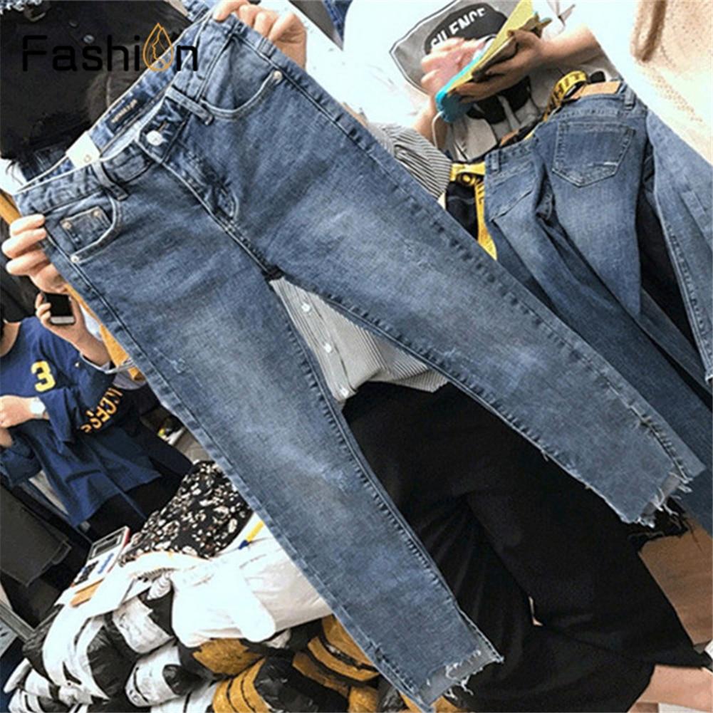 Women Straight Jeans Vintage High Waist Hole Jeans Ankle-Length-Pants Cowboy Boyfriend Pants Plus Size Jeans Woman Streetwear