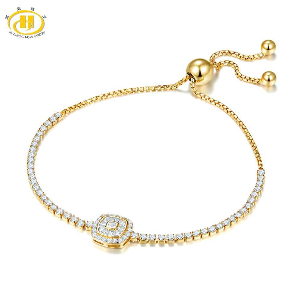 Hutang 10 Inches Adjustable Yellow Gold Crystal Bracelet Solid 925 Sterling Silver For Women Girl Fine Fashion Jewelry For Gift