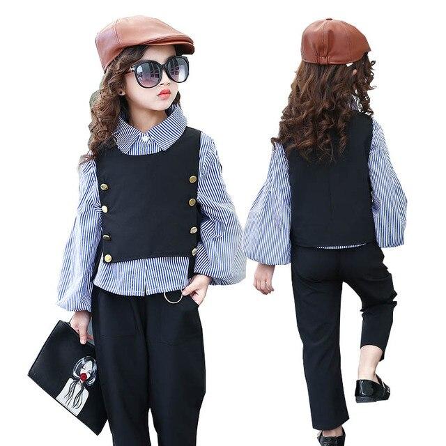 6f08de626 Conjuntos de roupas meninas menina moda terno adolescente crianças em idade  escolar camisa listrada colete roupa dos miúdos treino
