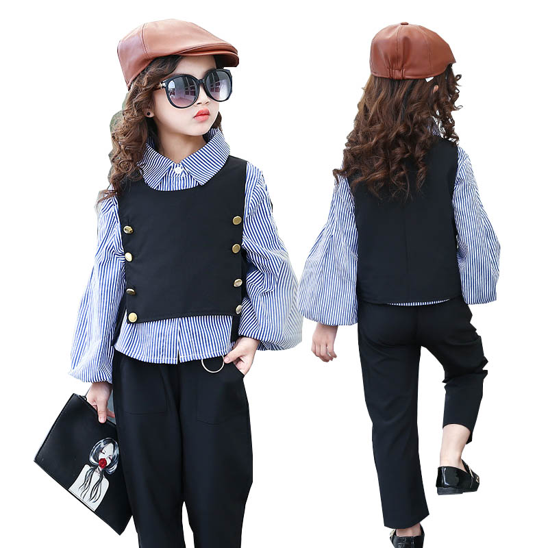 Girls clothing sets girl fashion suit teenage girls clothes school children clothes striped shirt vest kids clothes tracksuit цена
