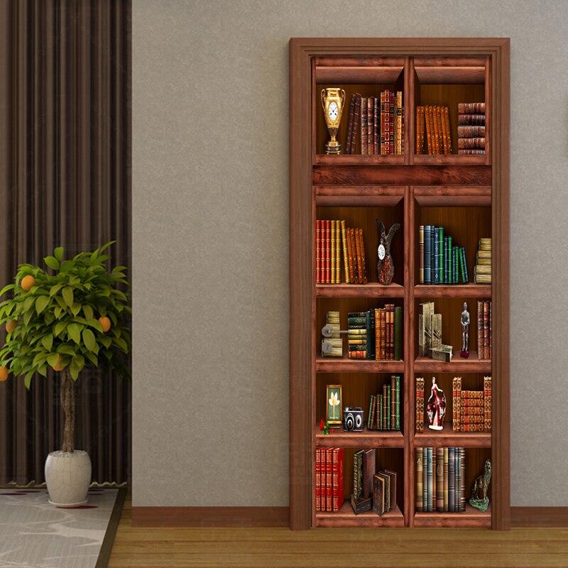 PVC Self Adhesive Waterproof Bookshelf Mural Wallpaper 3D Chinese Style Doors Renovation Sticker Living Room Study Door In Wallpapers From Home