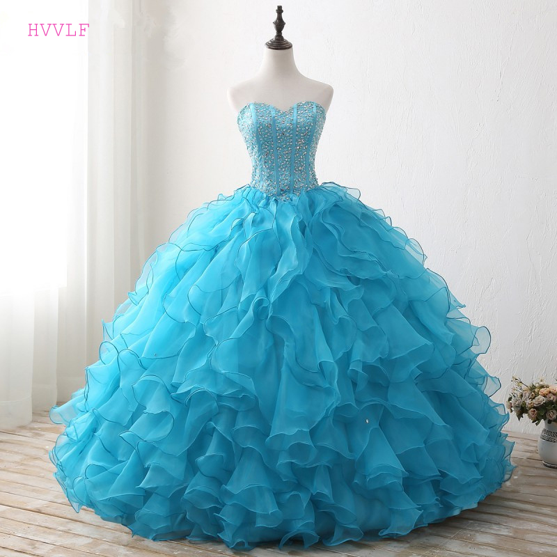 Blue Puffy 2019 Cheap Quinceanera Dresses Ball Gown Sweetheart Organza Beaded Crystals Ruffles Sweet 16 Dresses