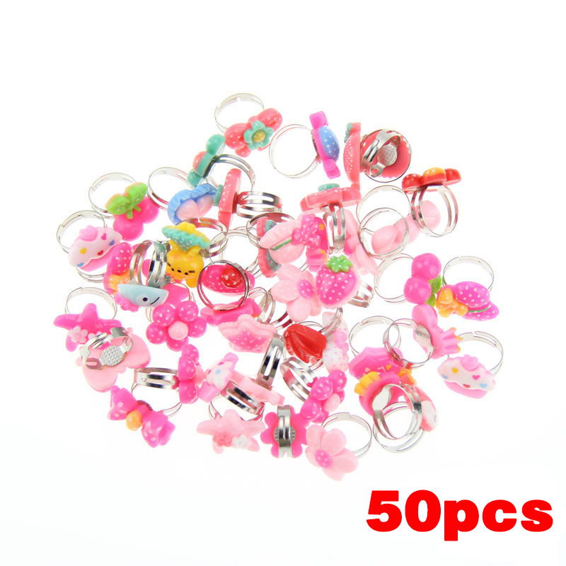 50 Pcs Lots Bulk Mixed Metal Children Kids Boys Girls Cartoon Animal Flowers Fruit Finger Rings M8694 new wholesale mix 36 pcs wholesale jewelry lots style mixed lots crystal rhinestone kid children rings free shipping