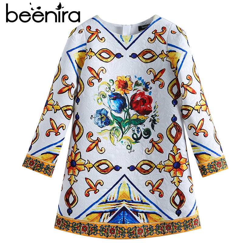 Beenira Girls Dress 2017 New European And American Style Kids Printed Pattern Long-Sleeve Dress For 4-14Y Children Autumn Dress beenira girls dress 2017 new european and american style kids printed pattern long sleeve dress for 4 14y children autumn dress