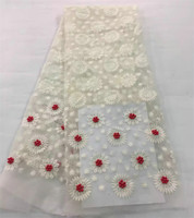 Noble Pure White With Colourful Beads Wedding Dress Material French Lace ARF2 Free Shipping And Cheap