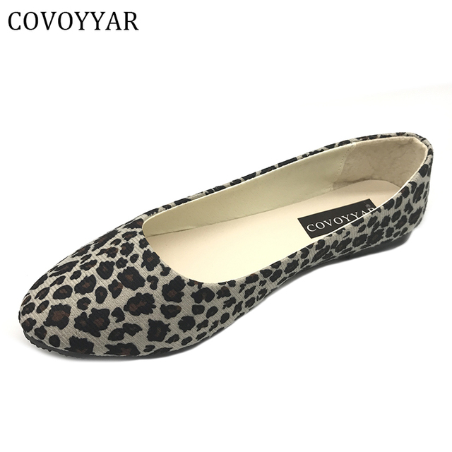 d67c13642742 Women Ballet Flats Spring Pointed Toe Leopard Print Flat Shoes Woman Slip  On Comfort Superstar Daily Wear Plus Size 35~41 WFS38