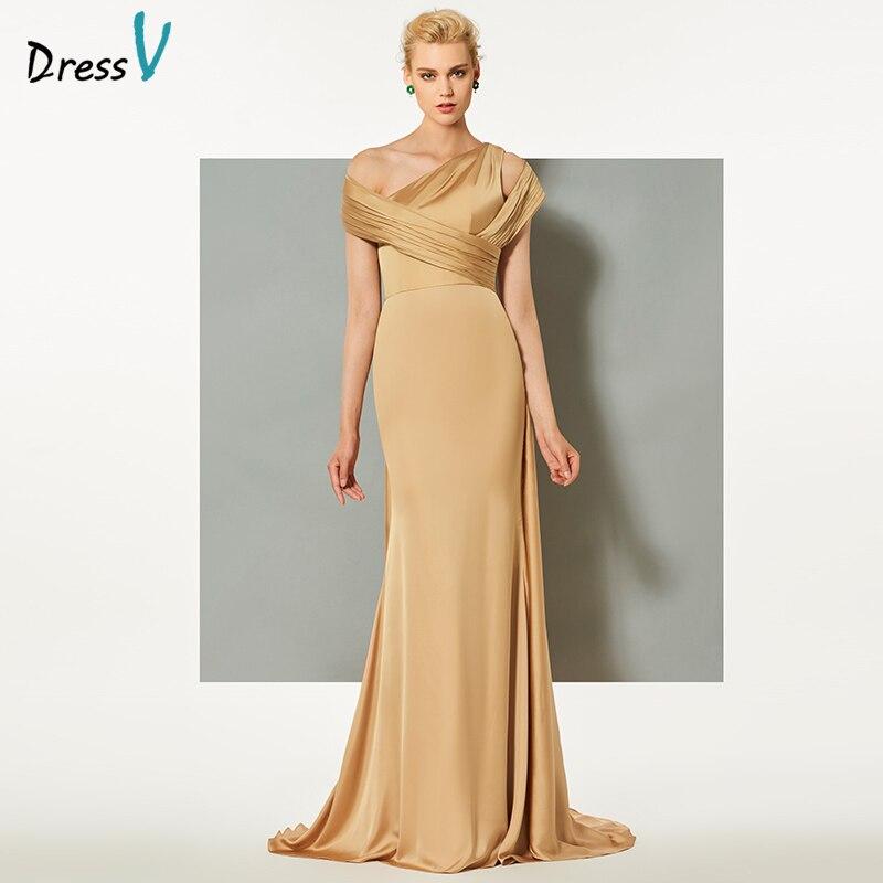 Dressv Apricot Yellow Long Evening Dress One Shoulder Watteau Train Mermaid Wedding Party Formal Dress Trumpet Evening Dresses