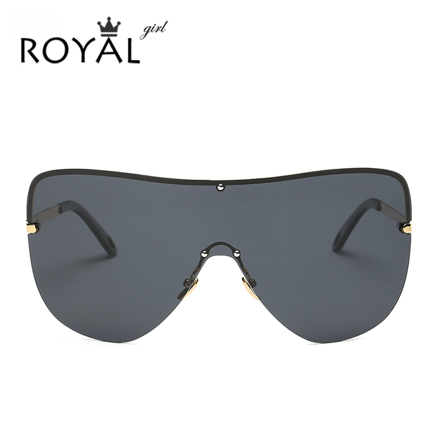 ROYAL GIRL Oversize Frame Polarized Men Sunglasses Integrated Lens Women Brand Design Rimless Eyewear Mirror Lens ss002