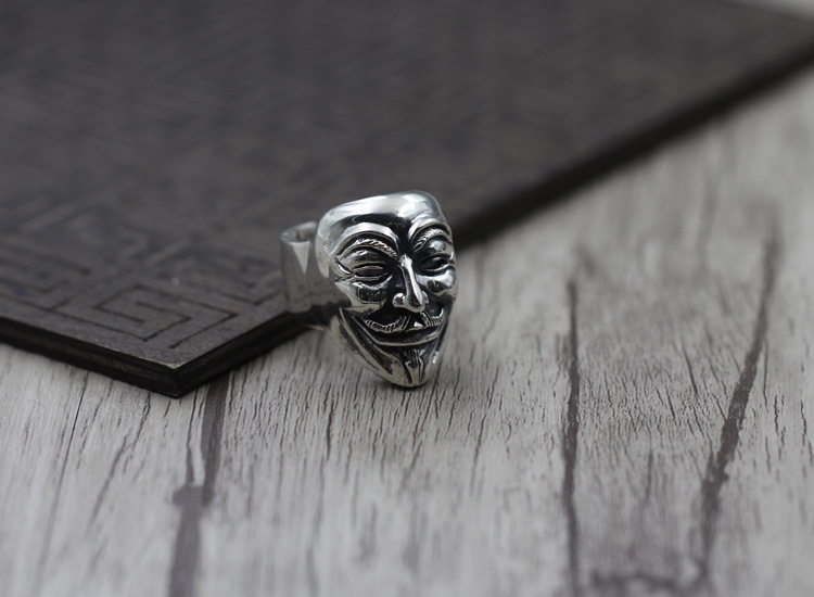 925 Sterling Silver Vintage Ring Male Models V Word Hatred Masks Mask Ring Geek Thai Silver Jewelry