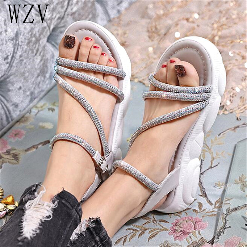 2019 New Summer Womens Sandals Crystal Platform Sandals Womens Fashion Casual Shoes Open Toe Sandals Slippers Footwear E7762019 New Summer Womens Sandals Crystal Platform Sandals Womens Fashion Casual Shoes Open Toe Sandals Slippers Footwear E776