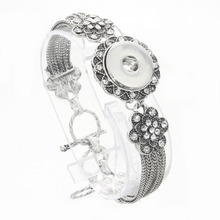2017 NEW Bangles flower Crystal 18mm Snap Bracelet Metal Snap Button Charms Jewelry DIY Bracelet For Women JEWELRY 040417