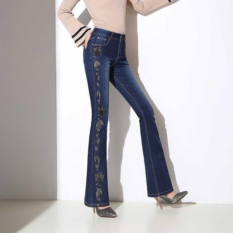 2019 Nouveau Printemps Automne Taille Haute Jeans Femmes De Mode décontracté Mince Broderie Fleur Droite micro-corne Pantalon Femelle Pantalon