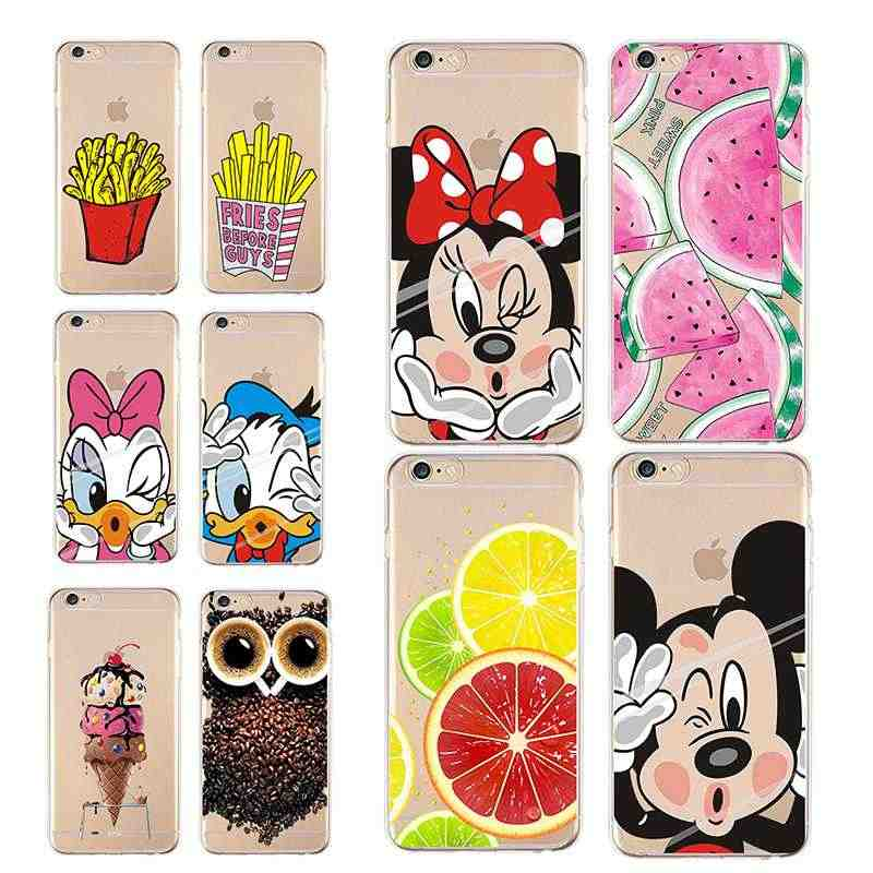 Suave Tpu caso claro para iPhone 4 4S 5 5C 5S 6 6 S 7 7 6 Plus 7 Plus con minnie lindo Mickey helado fruta Animal gato para iPhone