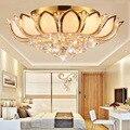 Золотая атмосферная хрустальная лампа для гостиной  круглый потолочный светильник для гостиной  спальни  столовой  светодиодный светильни...