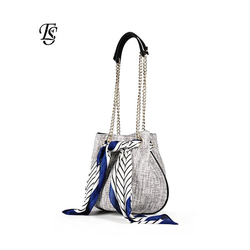 E SHUNFA new arrival trend fashion woman chain scarf bag wild woven bucket bag female shoulder