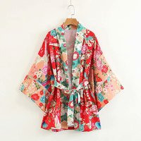 Boho Bohemian Kimono Floral Shirt For Ladies Bowtie Sashes Open Stitch Cardigan Women Hollow Out Sleeve Loose Blouses Tops