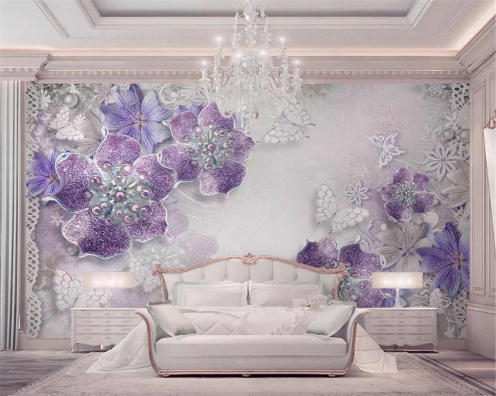 Beibehang Wallpaper Mulia Cantik Ungu Eropa Flower3d Dinding Latar Belakang TV Papel De Parede Wallpaper untuk