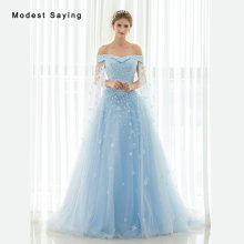 modest saying Princess Sky Blue Beaded Lace Evening Dresses