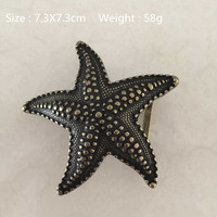 Retail New Style Solid Brass Starfish Belt Buckle 7 3 7 3cm Bronze Color Metal For