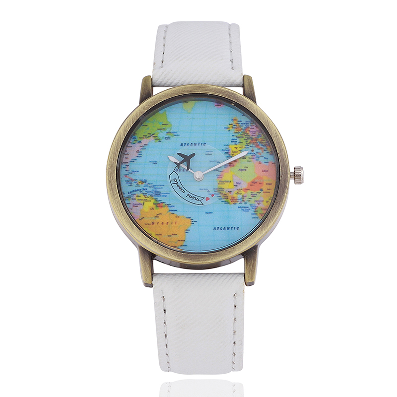 World Map Classic Casual Quartz Women Wristwatch