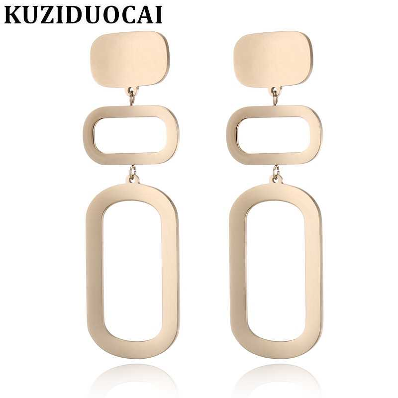 Kuziduocai New Fashion Jewelry Titanium Stainless Steel Stitching Geometry Arc Stud Earrings For Women Statement Brincos E-1215