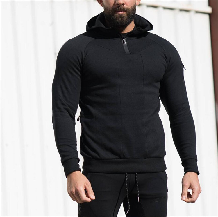 Autumn Winter 2018 Long Sleeve Running T-shirt Men Hooded Soccer Jerseys Sport Top Gym Fitness Sportswear Men's Tshirt