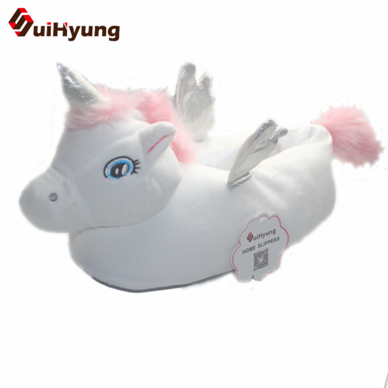 Suihyung Flip Flops Zapatos Hot Design Unicorn Slippers Winter Warm Home Indoor Cotton Shoes Soft Bottom Bedroom Floor Plush pink bow slippers women hot spring flower home cotton plush indoor floor flip flops flat shoes pantuflas pantofole donna chinelo
