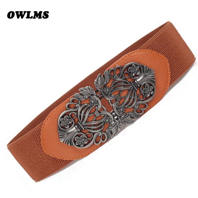 HOT Black Flower Carved Buckle Cummerbunds & Belts Wide Stretch Cummerbund Luxury Lady Dress Decorate Women Gifts Cinturon Mujer