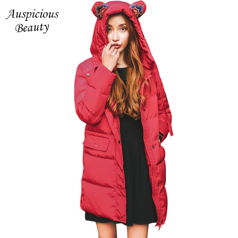 80% White Duck Down Long Thick Warm Down Jacket Womens Embroidered Down Coats Female Cartoon Hooded Windproof Outwear SUN50