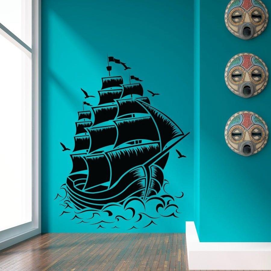 Free Shipping Large Size Retro Pirate Ship Sail Boat Vinyl