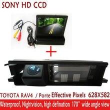 2.4hg HD Sony CCD Автомобильная камера парковка с 4.3 дюймов Складная TFT ЖК-дисплей авто зеркало заднего вида Мониторы, для Toyota RAV4 RAV-4 RAV4