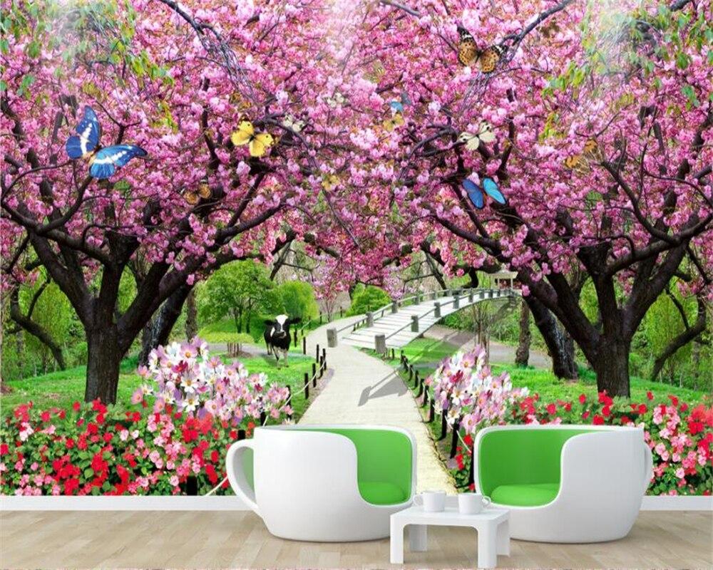 Beibehang Custom wallpaper modern cherry blossom wood ...