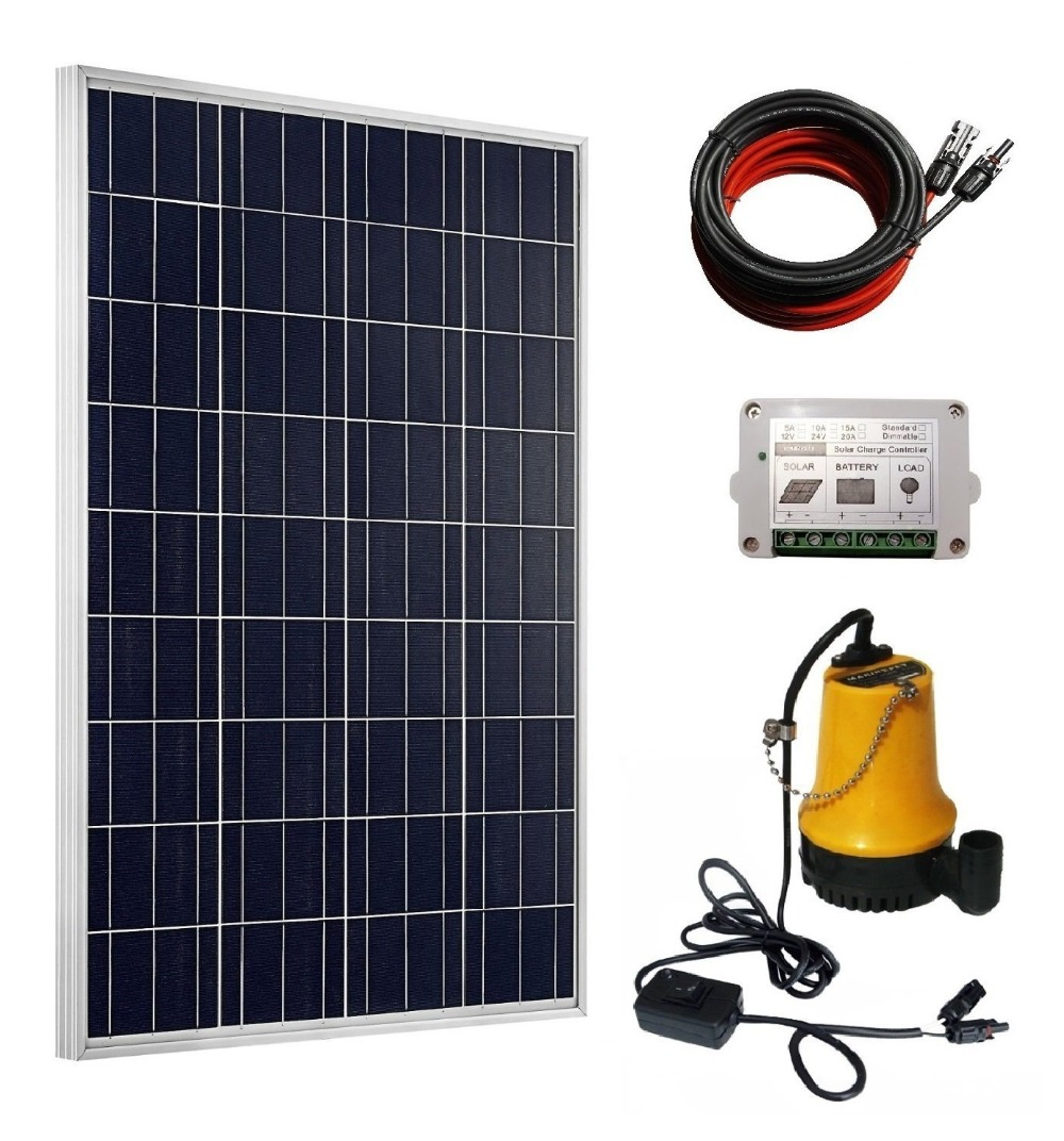 Solar Pump Kit: 100 Watts Poly Solar Panel & 12V Water Pump for Pond, Fountain, Water Feature, Hydroponics, Aquarium