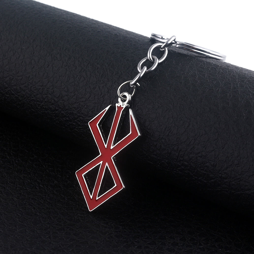 Anime Baserk Keychains Guts Imprints Geometric Pattern Pendant Red Enamel Jewelry For Man Car Woman Bag Gift in Key Chains from Jewelry Accessories