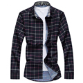 New 2016 Men's Shirts Casual brand slim fit designer Plaid Shirts men 2 colors Asian size camisa masculina PD32