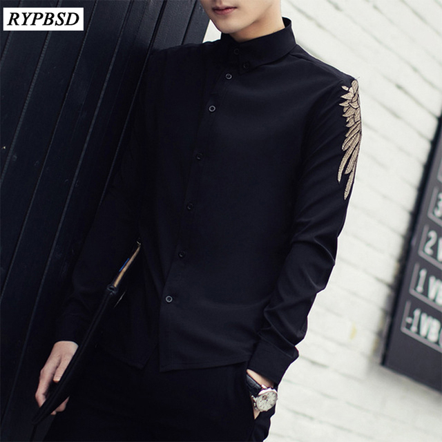 0fe6331256c Chemise Homme 2019 New Spring Solid Long Sleeve Embroidered Shirt Men  Korean Fashion Slim Fit Casual Men Shirt Black White 3XL-M
