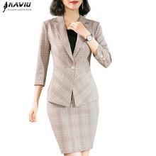 Летняя клетчатая юбка, костюмы для женщин, новинка, Ретро стиль, модный блейзер с короткими рукавами и юбка, офисная одежда, формальные костюмы для работы